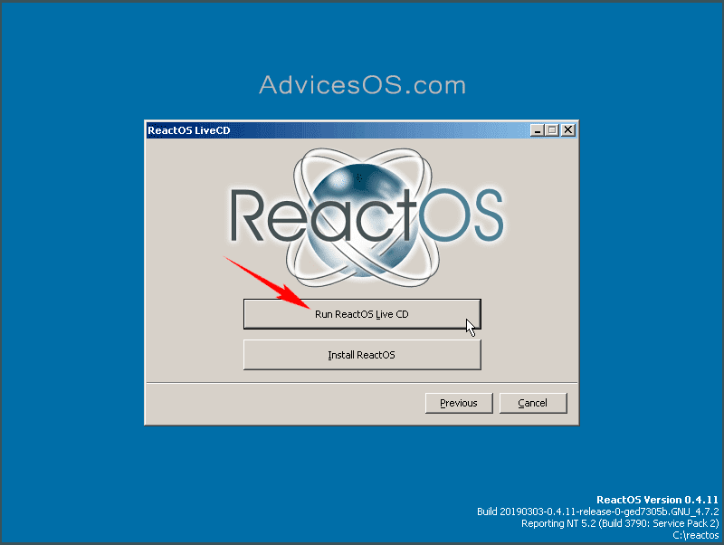 Run ReactOS Live CD